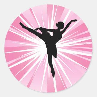 Bailarina rosada de la estrella pegatinas redondas