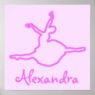 Bailarina rosada de neón personalizada bonito póster