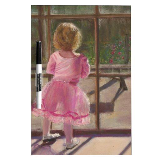 bailarina rosada pizarra blanca