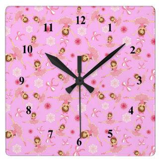 Bailarina rosada preciosa reloj cuadrado