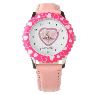 Bailarina rosada y reloj personalizado corazones