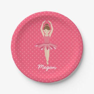 Bailarina triguena en los lunares rosados 3 plato de papel de 7 pulgadas