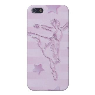 Bailarina y estrellas rosadas lindas de la lila iPhone 5 carcasas