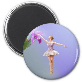 Bailarina y orquídea imán redondo 5 cm
