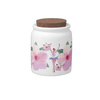 Bailarina y tarro rosado del caramelo del hibisco jarras para caramelos