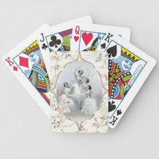 Bailarina y tipografía del vintage barajas de cartas