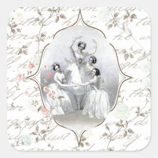 Bailarina y tipografía del vintage pegatina cuadrada