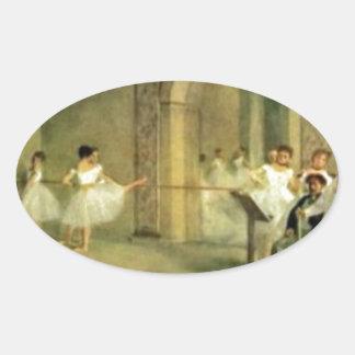 Bailarinas de Edgar Degas Pegatina Ovalada