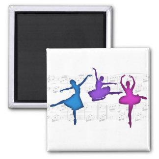 Bailarinas del día del ballet imán cuadrado