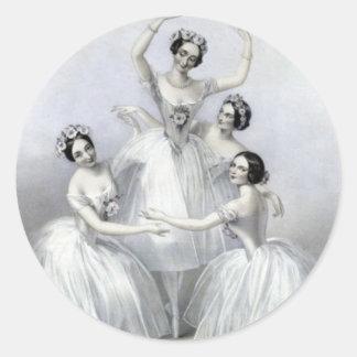 Bailarinas del vintage pegatina redonda