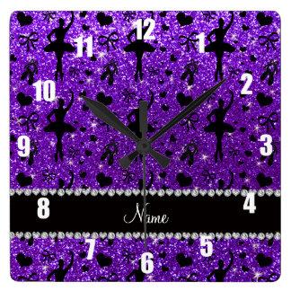 Bailarinas púrpuras del brillo del añil conocido relojes de pared