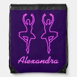 Bailarinas rosadas de neón bonitas personalizadas mochilas