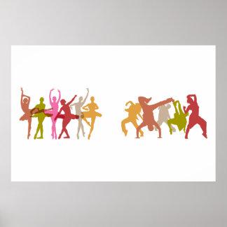 Bailarinas y bailarines coloridos de Hip Hop Póster