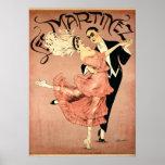 Bailarines 1920 del tango del ~ del art déco póster