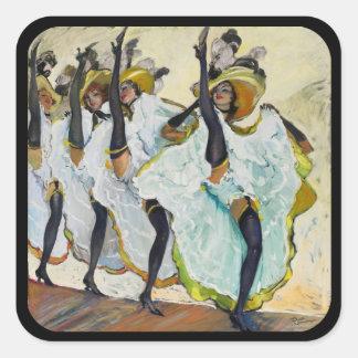 Bailarines 1 del Cancan Pegatina Cuadrada