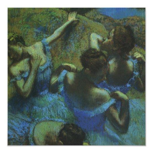 """Bailarines azules de Edgar Degas, impresionismo Invitación 5.25"""" X 5.25"""""""