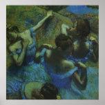 Bailarines azules de Edgar Degas, impresionismo Póster
