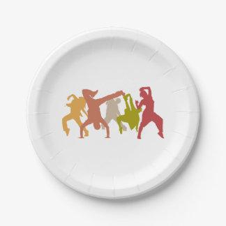 Bailarines coloridos de Hip Hop Plato De Papel De 7 Pulgadas