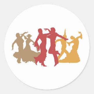 Bailarines coloridos del flamenco pegatina redonda