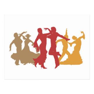 Bailarines coloridos del flamenco tarjeta postal