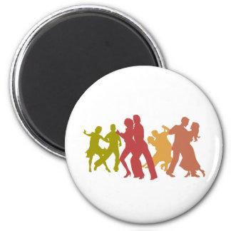 Bailarines coloridos del tango imán redondo 5 cm