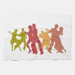 Bailarines coloridos del tango toallas de cocina