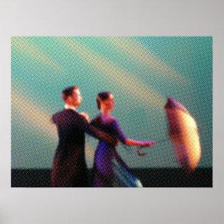 Bailarines con el paraguas (tono medio) poster