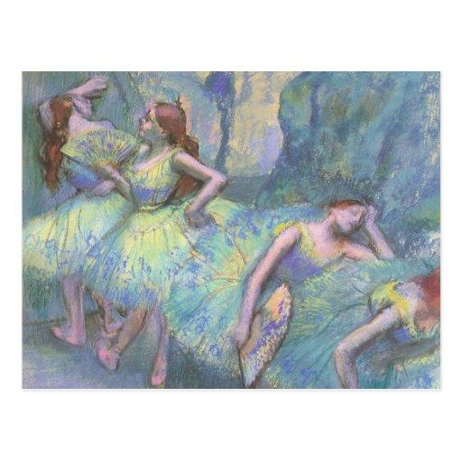Bailarines de ballet en las alas de Edgar Degas Tarjeta Postal