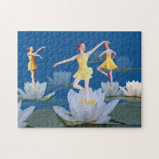 Bailarines de ballet y lirios de agua rompecabeza