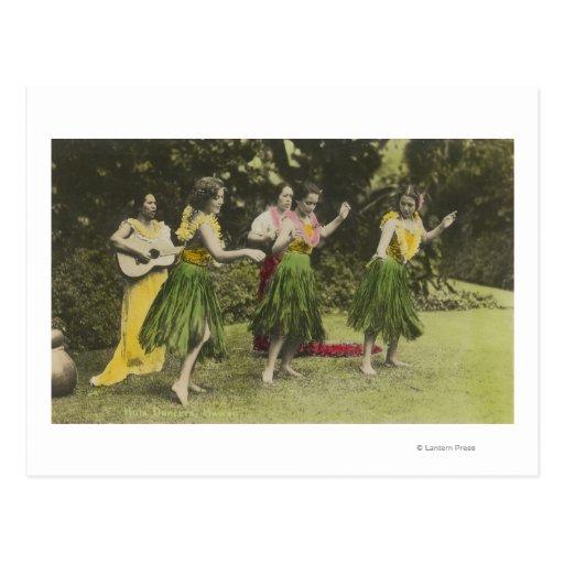 Bailarines de HawaiiHula en ColorHawaii Postal