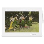 Bailarines de HawaiiHula en ColorHawaii Tarjetas