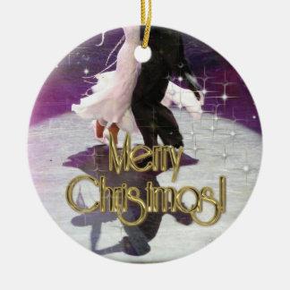 Bailarines de las Felices Navidad Adorno Navideño Redondo De Cerámica
