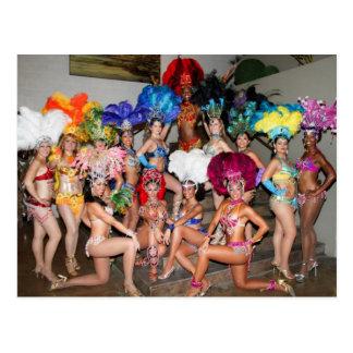 bailarines de los chicas de la demostración del tarjeta postal