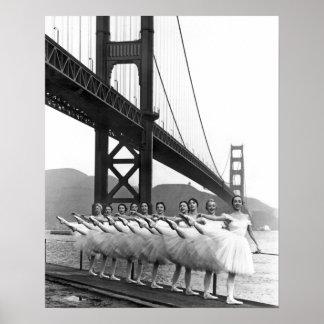 Bailarines de puente Golden Gate Póster