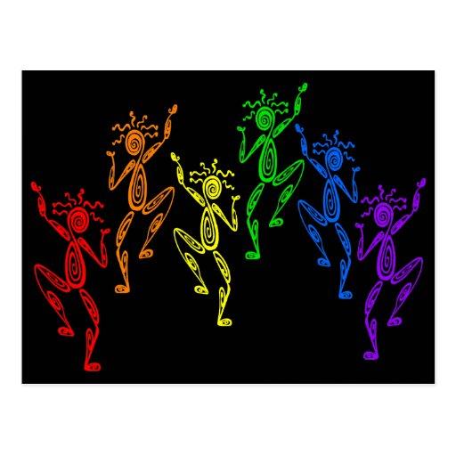 Bailarines del arco iris tarjeta postal
