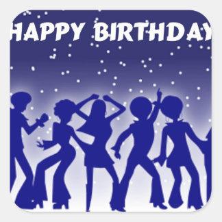 Bailarines del disco del feliz cumpleaños pegatina cuadrada