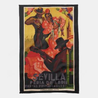 Bailarines del flamenco del vintage españoles toalla de mano