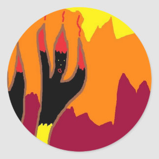 Bailarines del fuego en infierno pegatina redonda