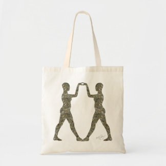 Bailarines del jeroglífico de la piedra de la imag bolsas lienzo