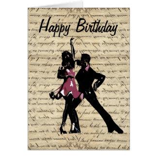 Bailarines del salón de baile en el papel del tarjeta de felicitación