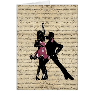 Bailarines del salón de baile en el papel del tarjeta pequeña