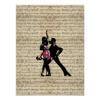 Bailarines del salón de baile en el papel del vint poster