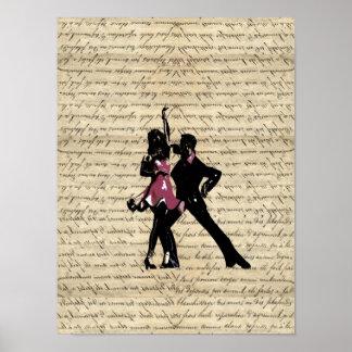 Bailarines del salón de baile en el papel del vint póster