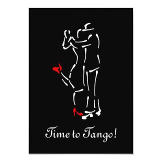 """Bailarines del tango (zapatos rojos) con el texto invitación 5"""" x 7"""""""