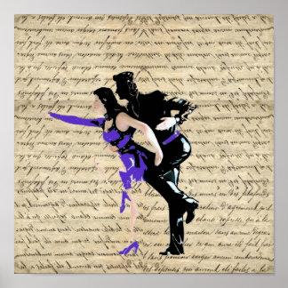 Bailarines del vintage del estilo del art déco póster