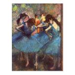 Bailarines en azul tarjetas postales