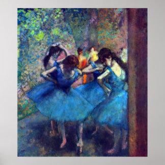 Bailarines en el azul de Edgar Degas, arte del Póster