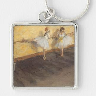 Bailarines en la barra de Edgar Degas, ballet del Llavero Cuadrado Plateado