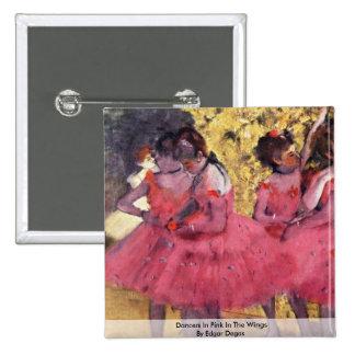 Bailarines en rosa en las alas de Edgar Degas Pin Cuadrada 5 Cm