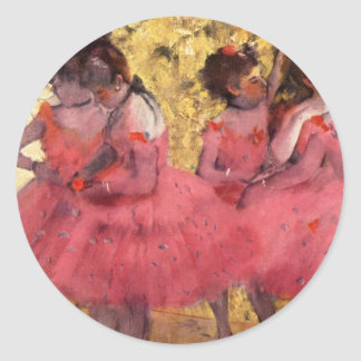 Bailarines en rosa pegatina redonda